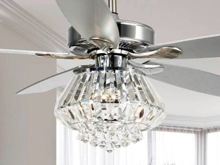Uncle Parrot Modern Chrome and Crystal 52  Ceiling Fan
