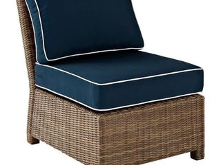 Crosley Furniture Bradenton Outdoor Wicker Sectional Center Chair with Navy Cushions