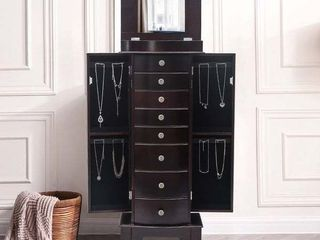 Standing Jewelry Armoire Cabinet Makeup Mirror and large Divided Standing Jewelry Armoire Storage Chest by Zimtown