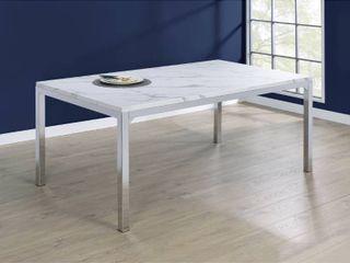 Silver Orchid Kindahl Chrome Rectangular Dining Table