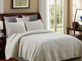 3 piece Fashionable Solid Embossed Quilt Set Bedspread Cover   King