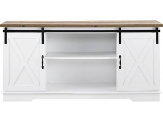 58  Farmhouse Wood TV Stand w  Solid White with Reclaimed Barnwood Top by Walker Edison