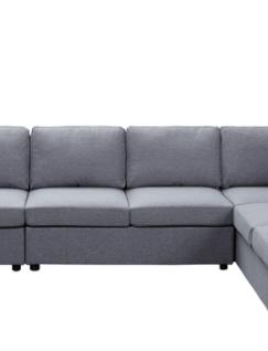 light Gray linen Reversible Modular 2 Seat Sofa Chaise by Tifton