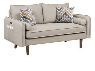 Carson Carrington lugnas Mid century Modern Beige linen Sofa