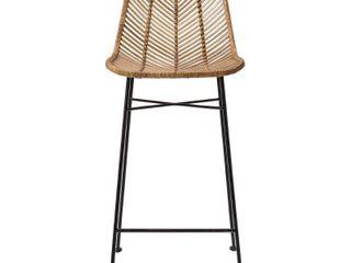 Rattan bar stool with metal frame legs