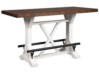 Signature Design by Ashley Valebeck White Brown Rectangular Dining Room Height Table