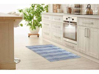 WATERCOlOR STRIPE BlUE Kitchen Mat