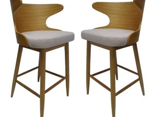 Kamryn Mid century Modern Upholstered Barstools  Set of 2  by Christopher Knight Home