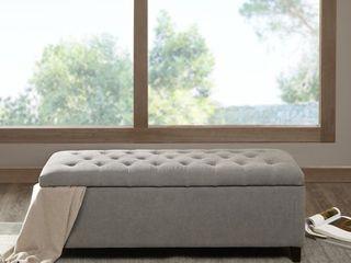 Campbell Sasha Grey Tufted Top Storage Bench