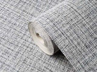 Wallpaper plain textured gray black faux textile cloth lines texture