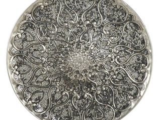 large Round Silver Aluminum Wall Decor With Mosaic Mirror Detail 33  X 33