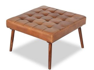Carson Carrington lunnaby Mid century Modern Brown Italian leather Ottoman