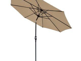 9  Steel Beach Market Canopy SunShade Patio Umbrella W Crank Tilt 2 Colors