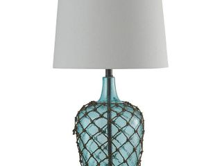 Cayos Blue Table lamp   White Hardback Fabric Shade