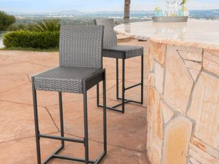 Conway outdoor wicker bar stool  set of two
