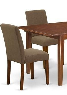 Two Parson Chairs in Coffee linen Fabric