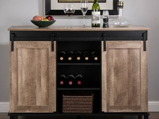 Industrial wine sideboard with two sliding doors