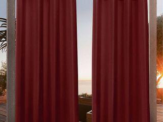 54 x108  Canvas Grommet Top light Filtering Window Curtain Panels Red   Nicole Miller