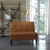 Porch   Den Umatilla Button Tufted Orange Tweed Settee Retail 256 49