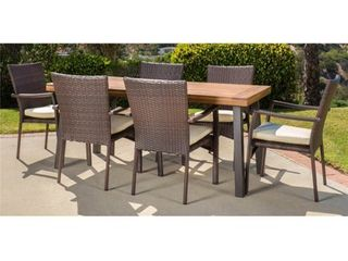 Cordella Outdoor dining chair by Christopher knight  brown and creme  2 CHAIRS ONlY