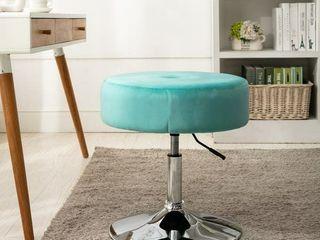 Art leon Round Velvet Stool with Adjustable Swivel Base   light Green