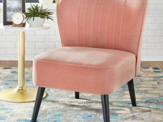 Selma Channel Accent Chair Blush Pink   Buylateral