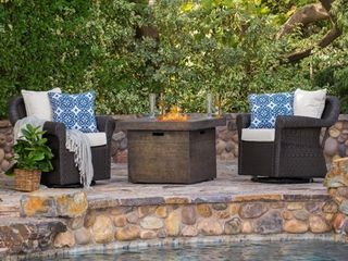 Arlington Outdoor Gas Firepit Seating Set by Christopher Knight Home Retail 1459 99   One chair only  One chair missing