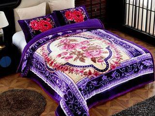 Ultra Plush 3 piece Sherpa Comforter Set   Purple King
