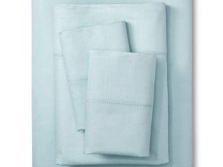 Elite Home 400 Thread Count Hemstitch Solid Sheet Set   lite Blue  California King