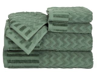 lavish Home Chevron Egyptian Cotton 6 Piece Towel Set   Green