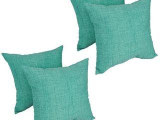 Solarium Aqua 17 inch Indoor Outdoor Throw Pillows  Set of 4