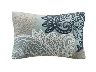 The Curated Nomad Perceval Embroidered Cotton lumbar Pillow with Chain Stitch