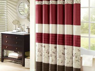 Madison Park Belle Faux Silk Embroidered Floral Shower Curtain   72x72