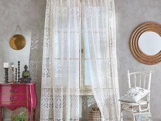 108 x50 Boho lace Poletop Curtain Panel Ivory   CHF Industries 2 panels