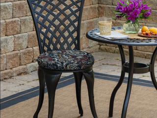 Arden Selections Palmira Paisley Outdoor Round Foam Bistro Cushion  2 pack   15 in l x 15 in W x 2 in H