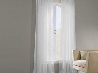 linen Depot Direct Basic Elegance Voile Solid Sheer Rod Pocket Curtain Panels  Set of 2