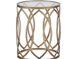 Madison Park Coen Metal Eyelet Accent Drum Table Retail 108 99