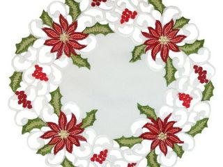 Poinsettia lace Embroidered Cutwork Round Doily  16 Inch  Set of 4
