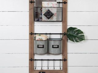 Gallery Solutions Metal Wood Basket and Hook Wall Organizer