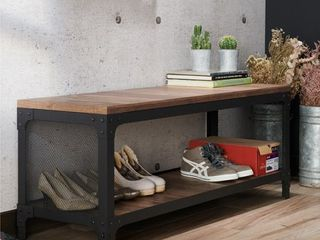 Furniture of America Maua Rustic Oak Metal Storage Entryway Bench Retail 255 49