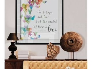 Faith  Hope and love  Custom Framed Print   blue  white  grey  yellow  green  silver  gold Retail 128 49