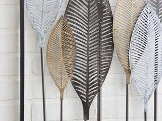 Decmode   59  x 37  large Textured Brown  White  Gray   Black Metal leaf Wall Art