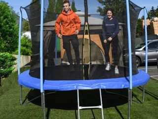 AlEKO Trampoline with Safety Net and ladder   8 Feet   Black and Blue