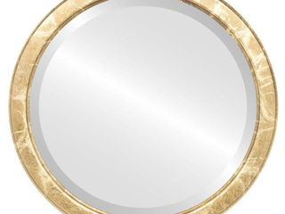 Athena Framed Round Mirror in Champagne Gold   Antique Gold   25x25