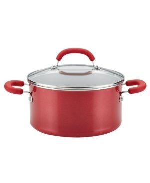 Rachael Ray 12164 Create Delicious Nonstick Stock Pot Stockpot with lid   6 Quart  Red