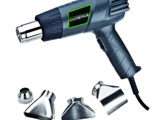Genesis GHG1500A 12 5 Amp Dual Temperature Heat Gun Kit with High and low Settings  Air Reduction Nozzle  Reflector Nozzle  and Two Deflector Nozzles APPEARS USED