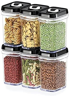 DWAllZA KITCHEN Airtight Food Storage Containers with lids Airtight a 6 Piece Set All Same Size   Medium Air Tight Snacks Pantry   Kitchen Container   Clear Plastic BPA Free   Keeps Food Fresh   Dry