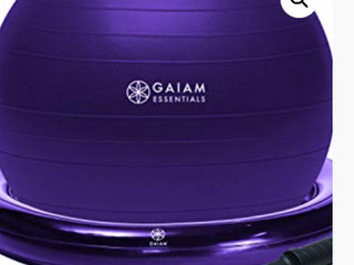 Gaiam Essentials Balance Ball   Base Kit  65cm Yoga Ball Chair  Exercise Ball with Inflatable Ring Base for Home or Office Desk  Includes Air Pump   Purple