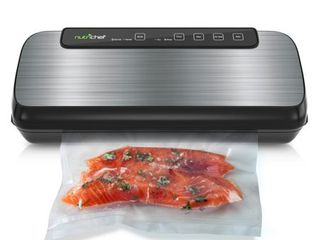 Vacuum Sealer By NutriChef   Automatic Vacuum Air Sealing System For Food Preservation w  Starter Kit   Compact Design   lab Tested   Dry   Moist Food Modes   led Indicator lights  Stainless Steel
