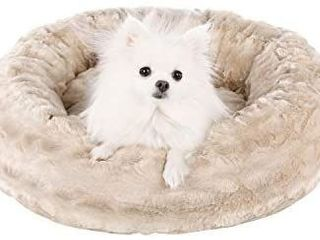 Veehoo Warming Round Dog Bed for Small Dogs   Cats  luxurious Faux Fur Donut Cuddler  Bolster Pet Bed   Sofa  Extra Plush Dog Pillow   Couch  Machine Washable  Oyster